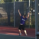 Alex Clerihew during the 1st Round of the Regional UIL Tennis Tournament in Abilene.